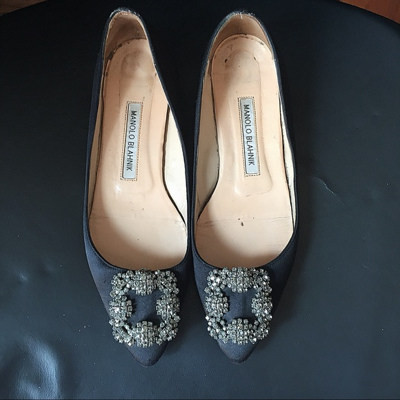 46a73ed3cc91c Manolo Blahnik Shoes | Hangisi Jewel Black Satin Flats 37 | Poshmark